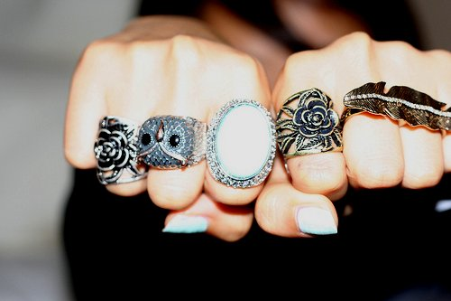 double ring, flower, leaf, owl, ring