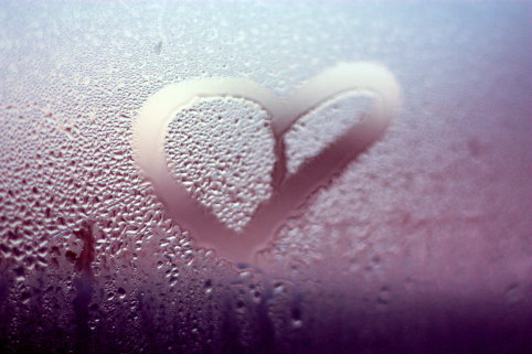 drops, heart, water, window, winter