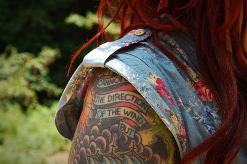 flowers, nature, red hair, tattoo