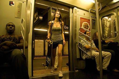 girl, skater, subway