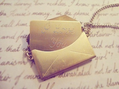 gold, jewelry, letter, mail, necklace, vintage