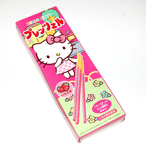 hello kitty, japanese, kawaii, pocky, strawberry