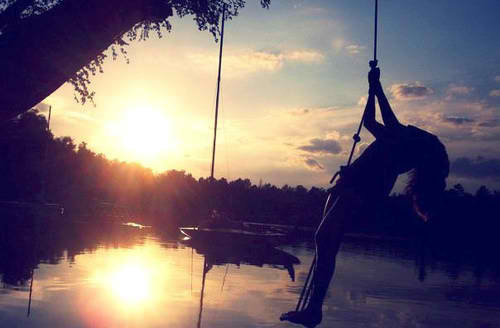 lake, nature, sunset, swing