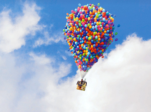 air, balloons, house, upp