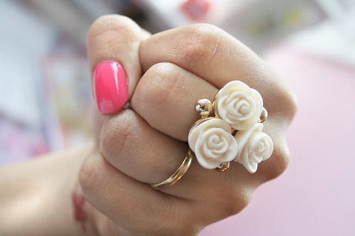 anel, flower, girl, nail, pretty, ring