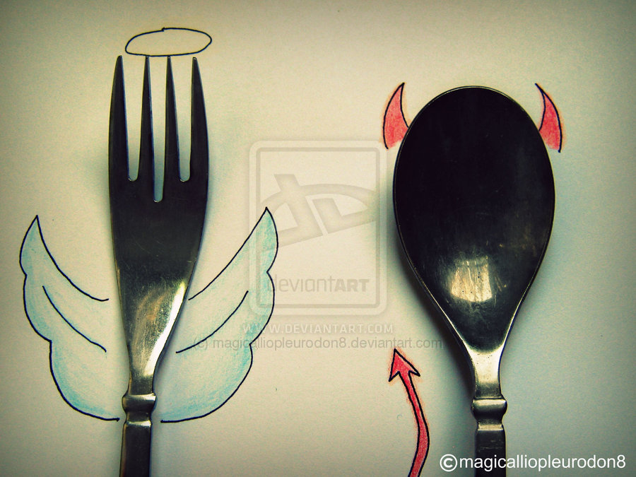 angel, devil, evil, fork, good