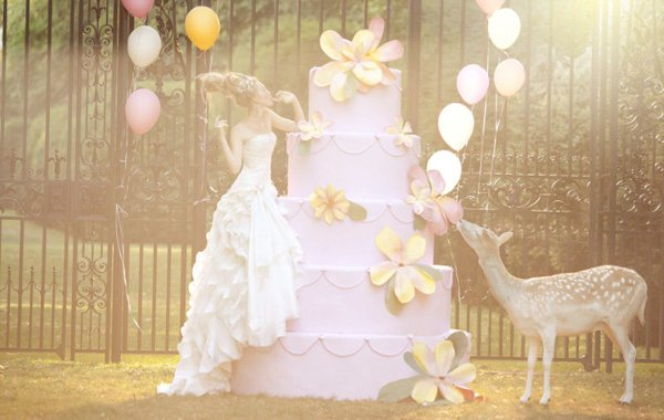 balloons, cake, deer, dress, pretty, princess