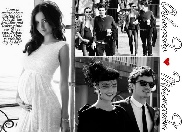 b&w, black and white, collage, couple, fashion, heart, love, miranda kerr, mmiaas, orlando bloom, pregnant