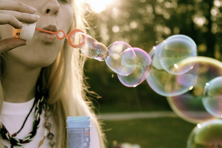 beautiful, blonde, bubble, girl, green