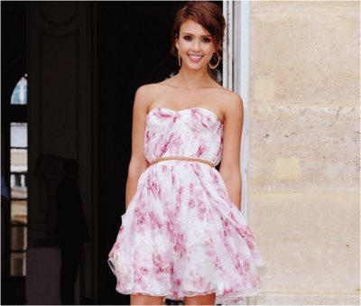 beautiful, dress, floral, girl, jessica alba