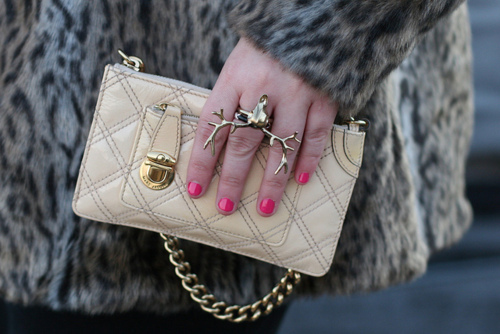 beige, fashion, fur, love it, nails, pink, purse, ring, wallet
