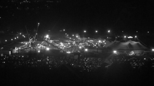 black and white, cars, circus, lights, night