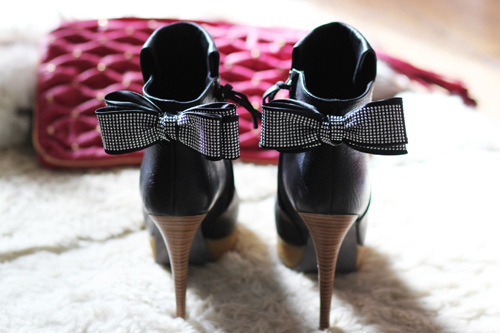 black, bow, shoes