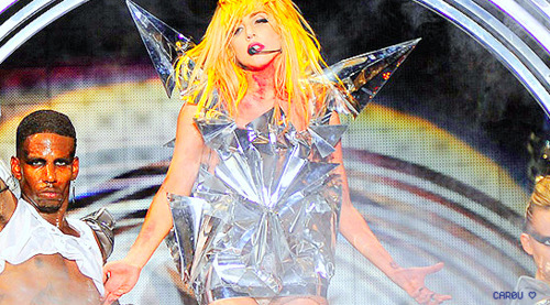 black, dance, dancer, gaga, ice, lady, lady gaga, man, plastic, sing, singer, stage, yellow