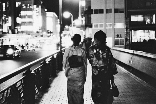 black, girls, japan, light, night, street, white