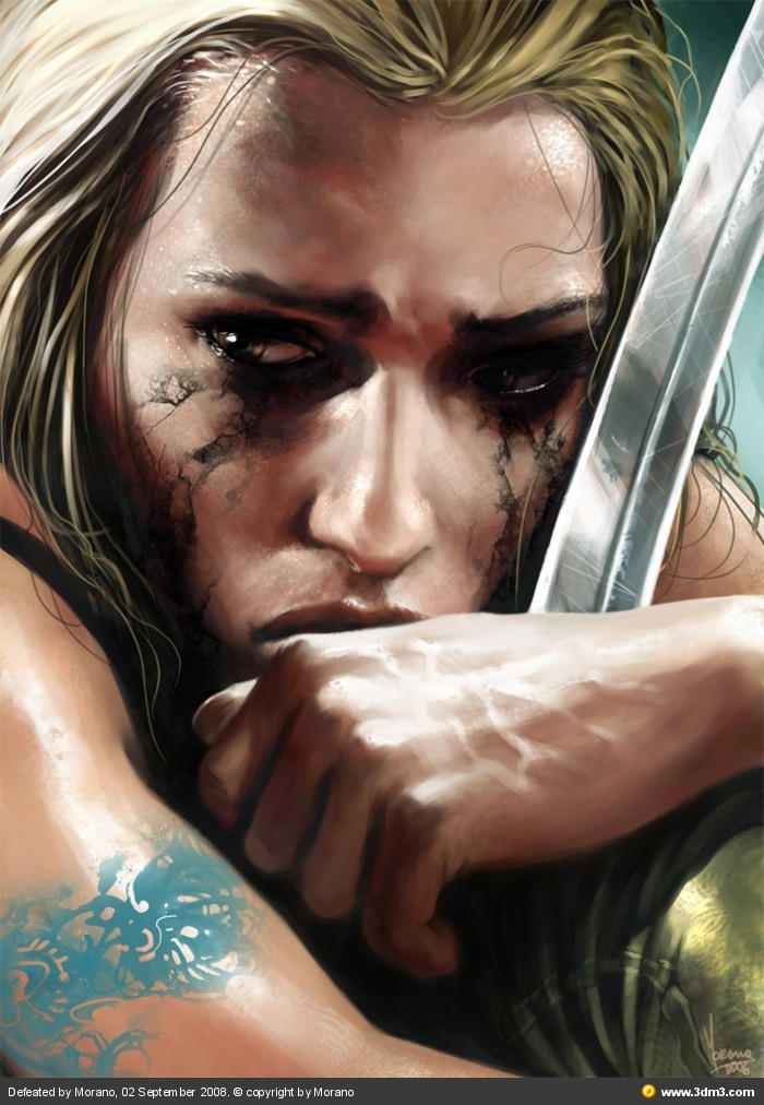 blonde, painting, sad, sword, tears