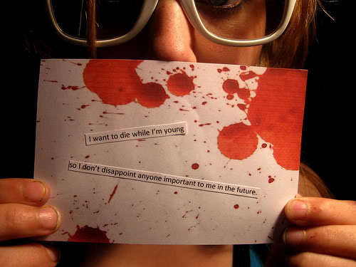 blood, die, disappointment, future, postcard