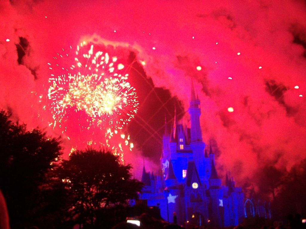 blue, castle, disney, evil, fireworks