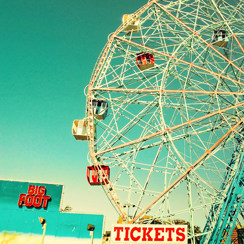 blue sky, carnival, cute, ferris wheel, vintage