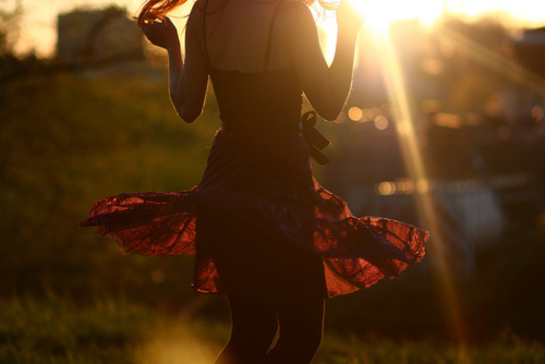 bokeh, dress, girl, sunlight