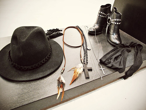 boots, cross, fashion, fedora, hat, necklace