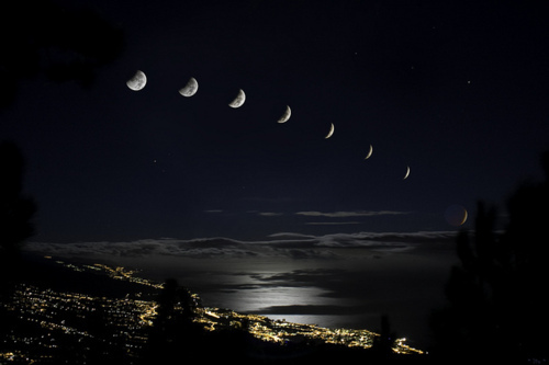 city, clouds, lights, moon, moon phases