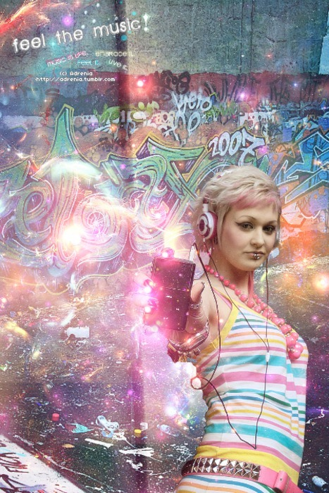 colorful, feel, graffiti, ipod, lights, live, music, photomanipulation, rainbow