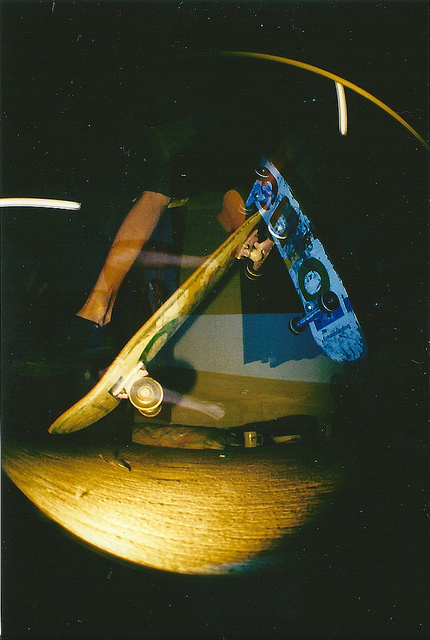 colour, enjoi, eye, fish, fisheye, flash, jump, kickflip, lomo, lomography, multiple exposure, skate, skateboard, yellow