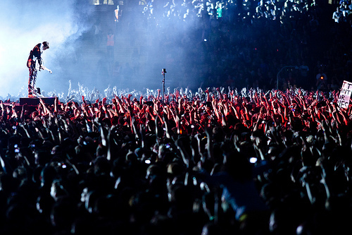 concert, crowd, hands, music, people