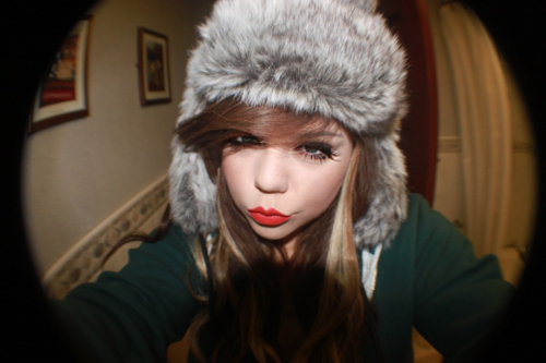 cute, fish eye, fisheye, fur, girl