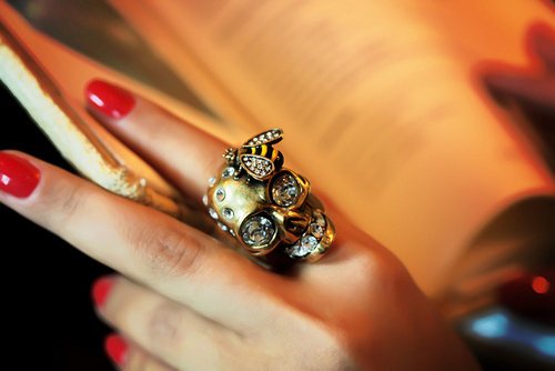 cute, pretty, red nails, ring
