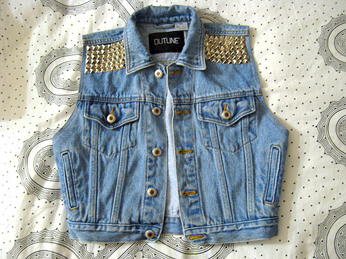 denim, fashion, studs, vest