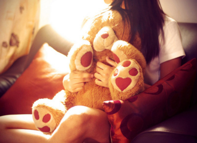 dziewcyna, gazing, girl, teddy, teddy bear