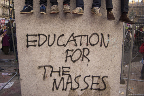 education for the masses, powerful, protest, punk, saying