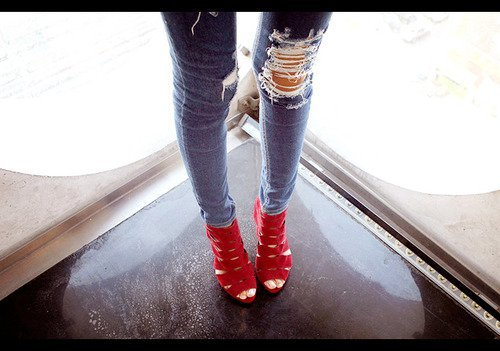 fashion, heels, high, high heels, jeans, legs, red, style