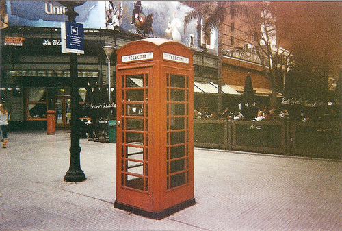 film, light leak, london, telephone booth
