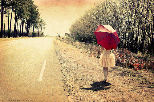 free, girl, road, umbrella