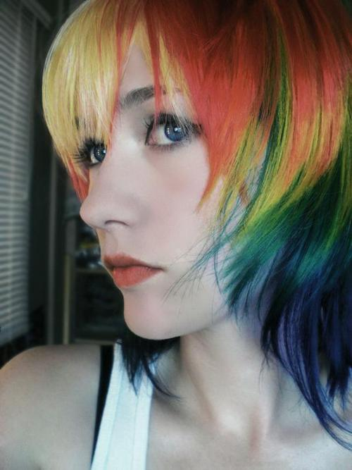girl, hair, rainbow, rainbow hair