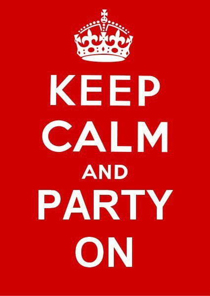 keeep calm, keep calm and party on, party, party on, red, white