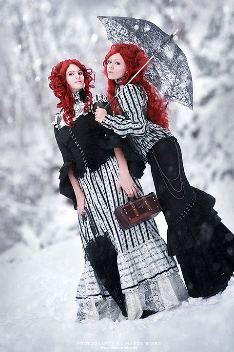 *ophelias-overdose, beautiful, deviant art, deviantart, gothic, hair, models, red hair, snowy, snowy journey, umbrella, winter