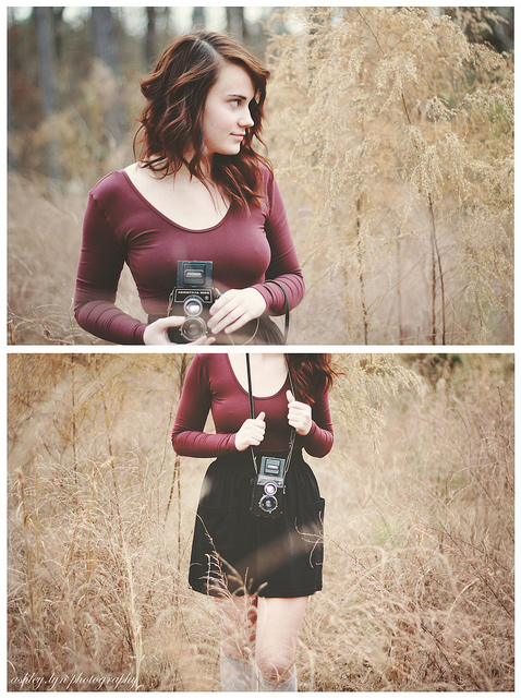 50mm, camera, december, diptych, field, film, film camera, girl, photographer, portrait, two, winter