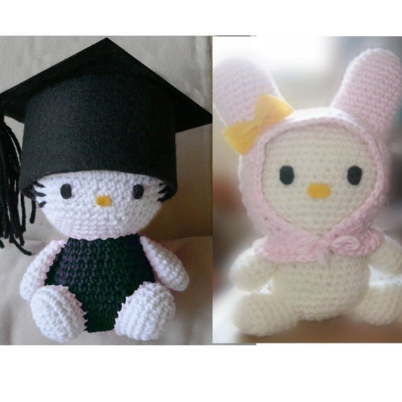amigurumi, crochet, graduate, hello kitty, my melody, school