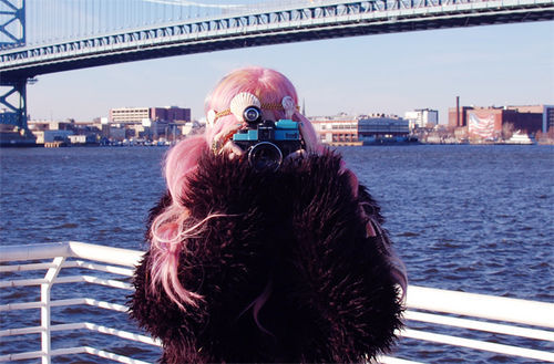 audrey kitching, bridge, camera, fashion, fur, holga, pink hair, style, water