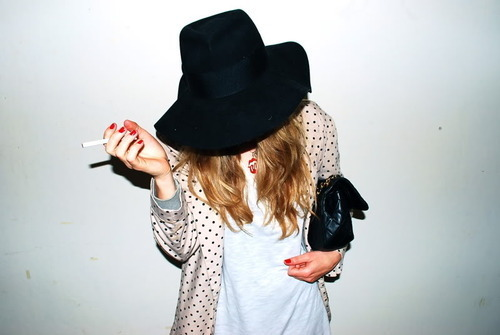 bag, blonde, cigarette, fashion, girl, hat, outfit, pretty