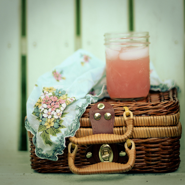 basket, picnic, pink lemonade