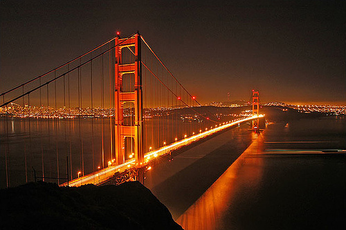 bay, bridge, golden gate, golden gate bridge, lake, lights, night, pretty, san fransisco