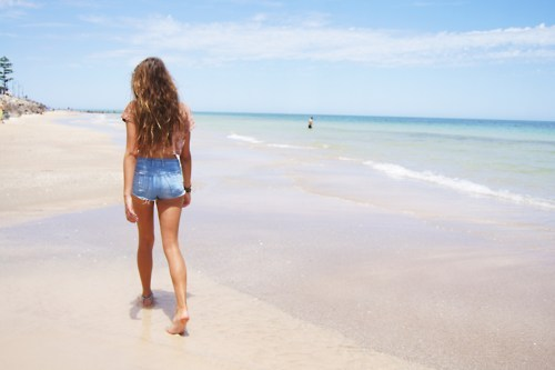 beach, girl, hair, legs, model, ocean, pretty, shorts, sky, summer