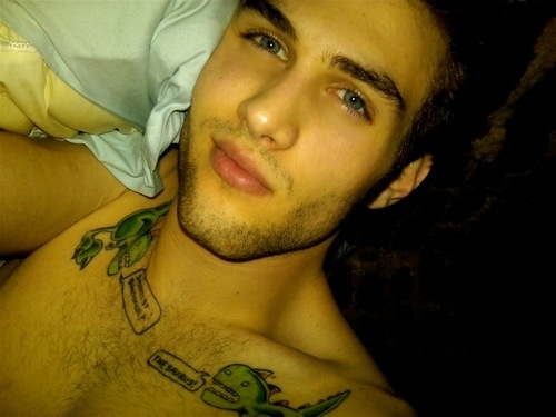 beautiful, bed, blue eyes, boy, brown hair, chest hair lips, cute, dino, eyes, facial hair, gorgeous, men, photography, seperate with a comma, sexy, tattoo, tattoos