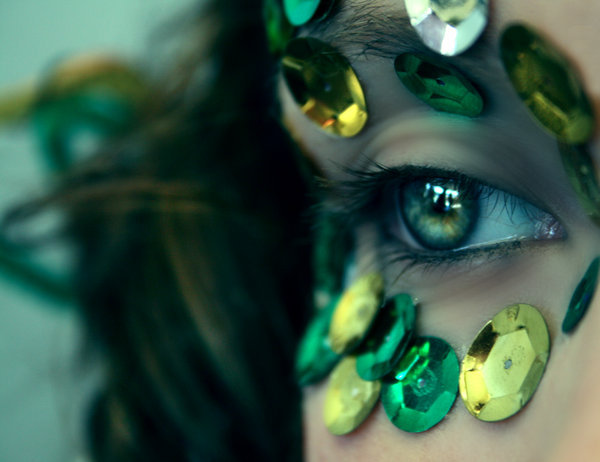 beautiful, brazil, eyes, green, green eyes, pretty, sequins, yeallow