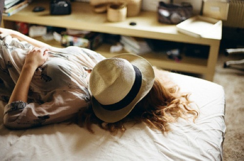 bed, bedroom, brunette, dress, girl, hat, laying, photography